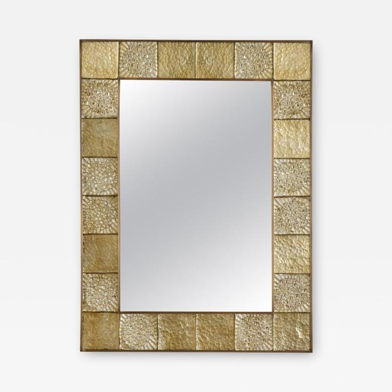 Gold Sculptural Murano Glass and Brass Rectangular Mirror Pair Available Italy