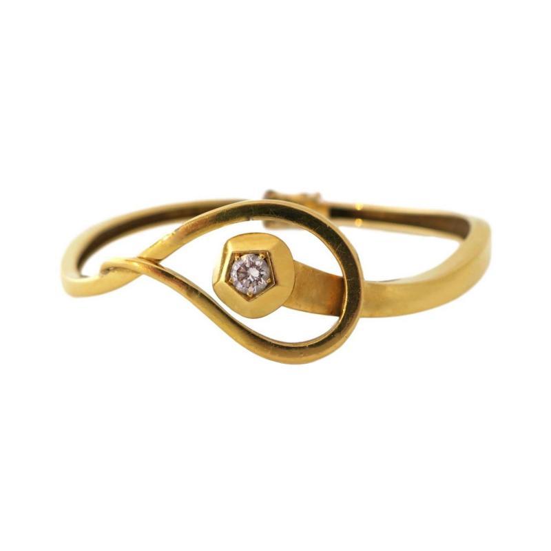 Gold and Diamond Nail Head Bracelet Circa 1970
