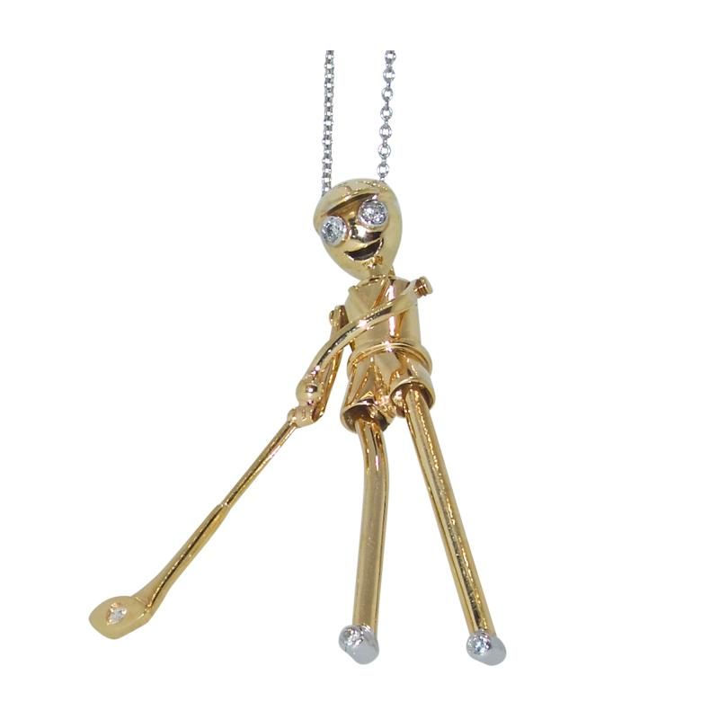 Golfer Pendant in gold with diamonds
