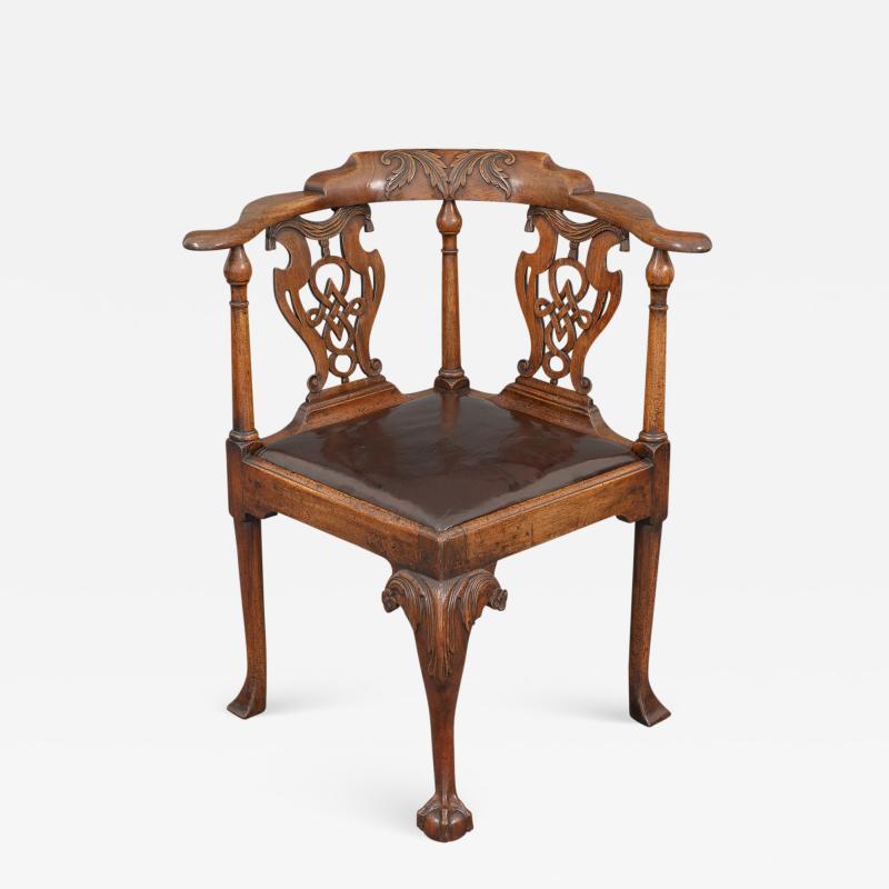 Good and Rare George III Carved Walnut Corner Armchair