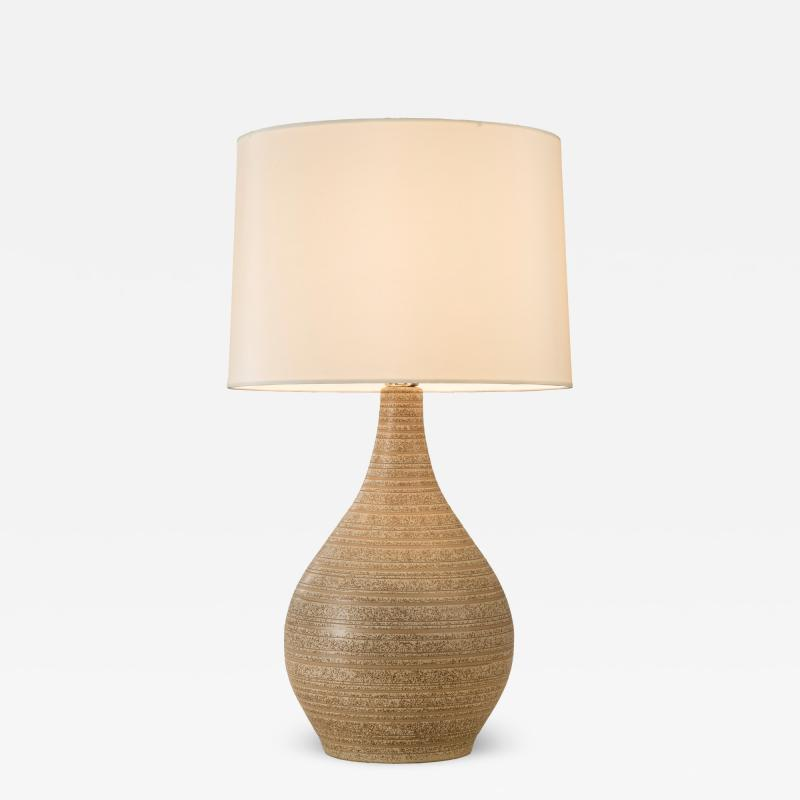 Gordon Jane Martz American Oatmeal Glazed Ceramic Lamp by Gordon and Jane Martz