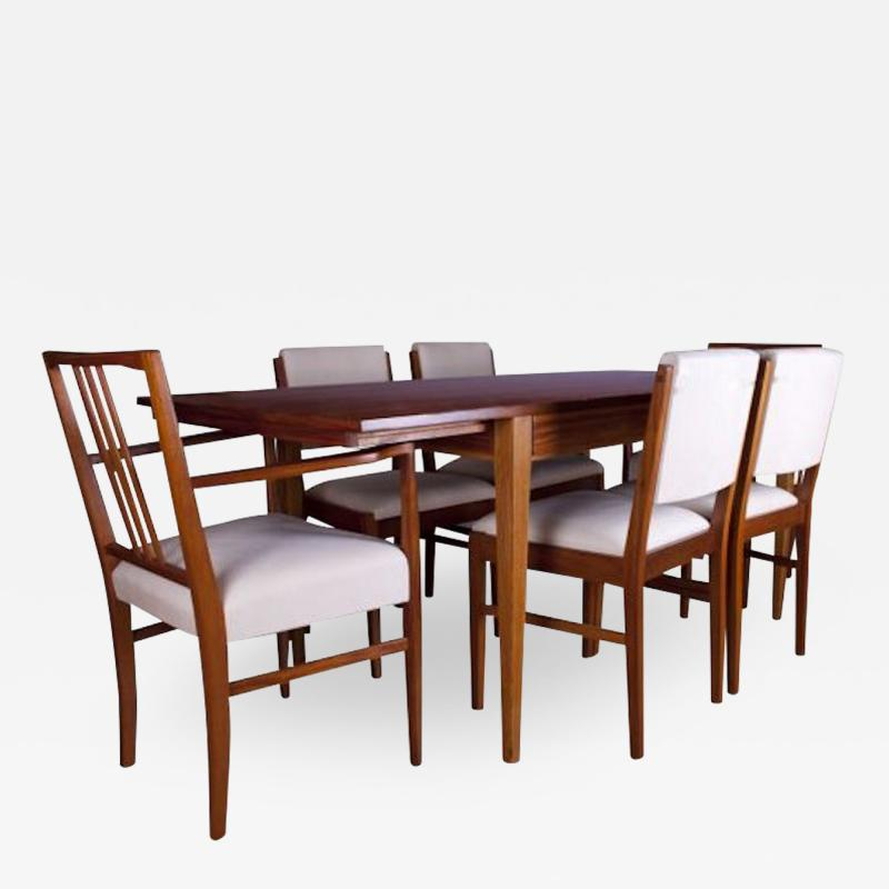 Gordon Russell GORDON RUSSELL TULIP WOOD DINING TABLE AND SIX CHAIRS