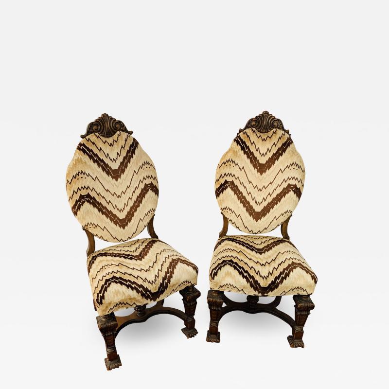 Gothic Renaissance Style Oak Side Chair a Pair