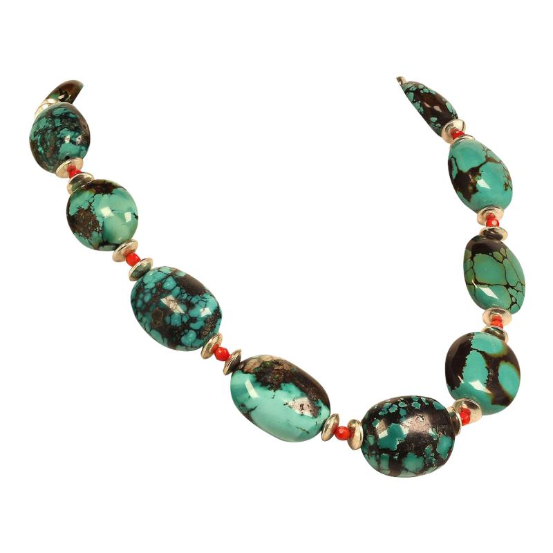 Graduated Hubei Turquoise Nugget Necklace with orange and silver accents