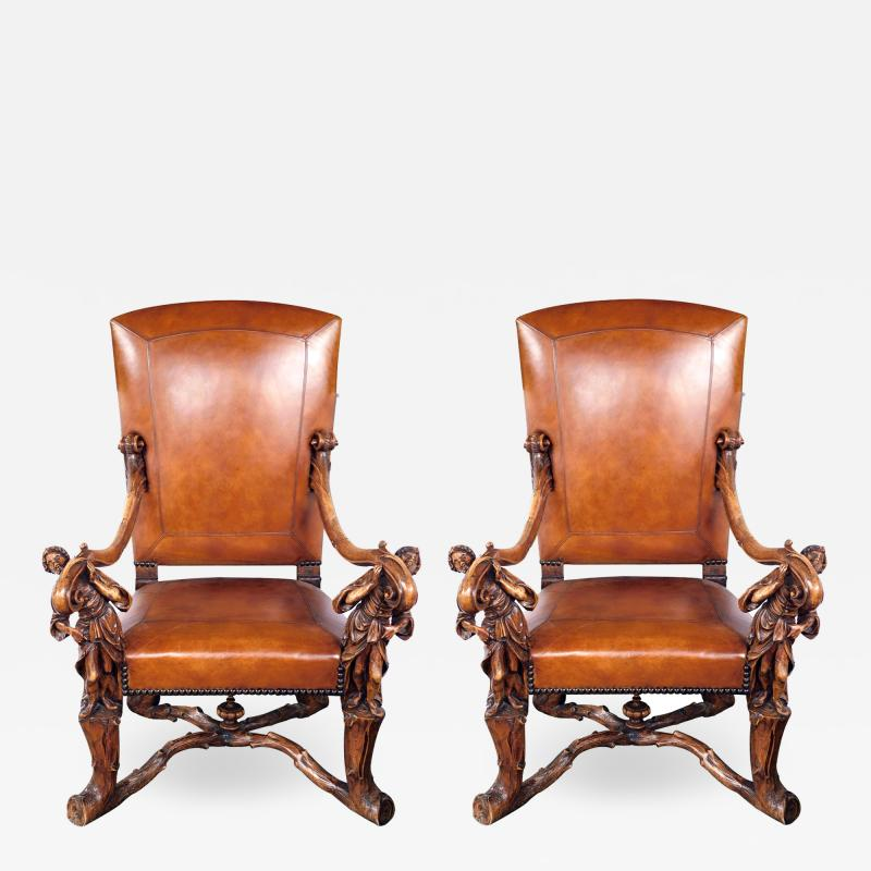 Grand Pair of Venetian Baroque Style Arm Chairs Manner of Andrea Brustonloni