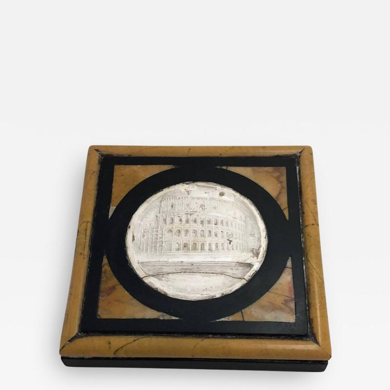 Grand Tour Inlaid Specimen Marble Paperweight Late 19th Century