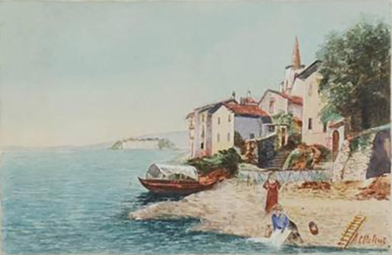 Grand Tour Watercolor of an Italian Coastal Scene