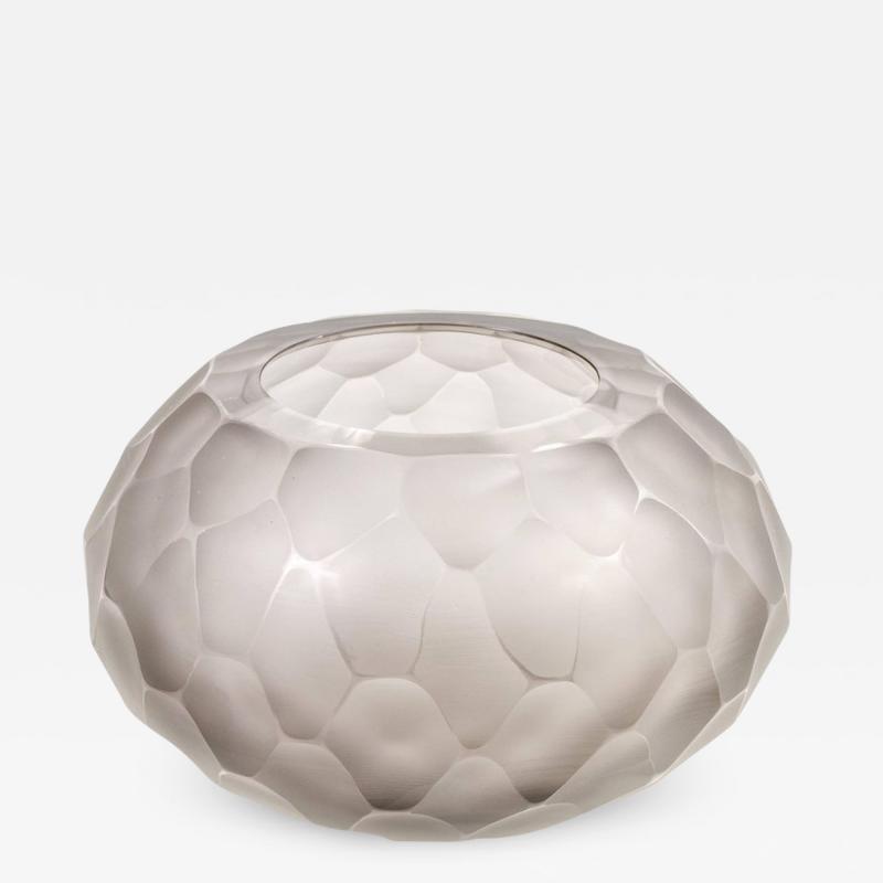 Gray Murano Glass Battuto Vase by Alberto Dona Italy 2017