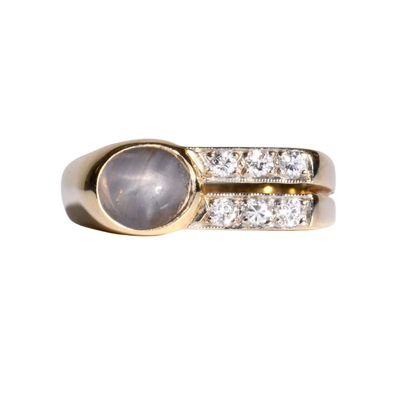 Gray Star Sapphire Diamond Ring