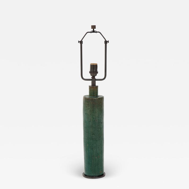 Green Mid Century Danish Ceramic Cylinder Table Lamp