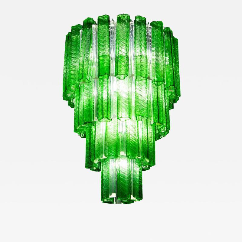Green Midcentury Murano Glass Tronchi Four Tier Chandelier 1960