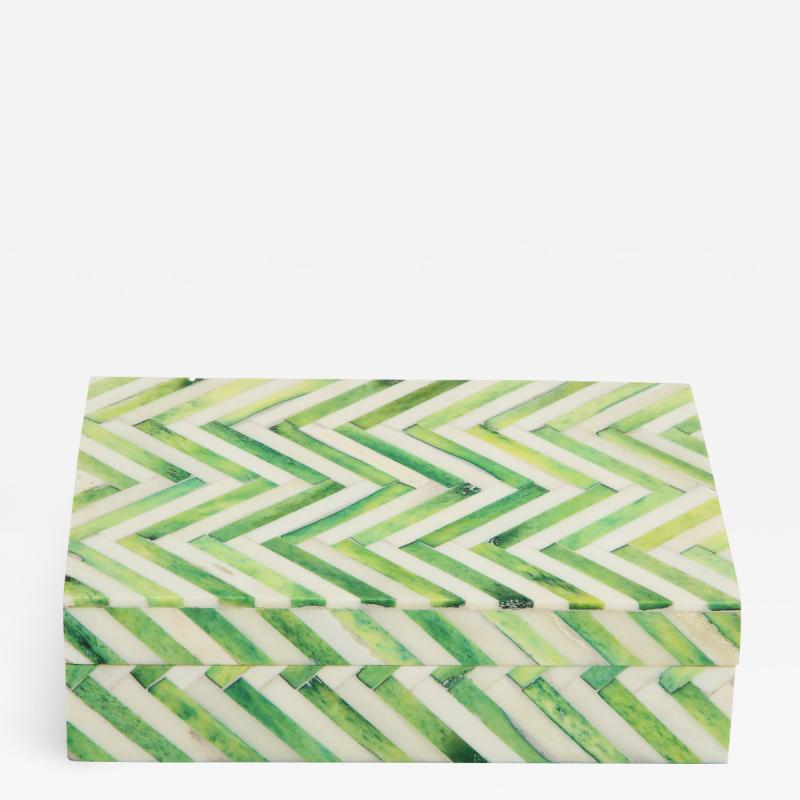Green Natural Bone Cheveron Box