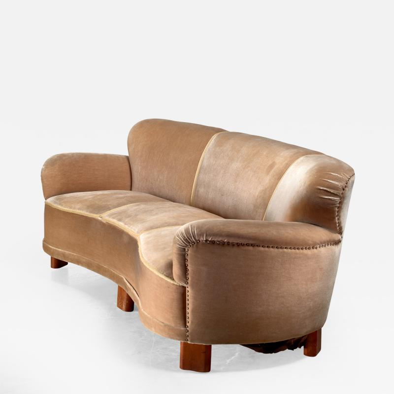 Greta Magnusson Grossman Curved brown three seater sofa Sweden 1940s