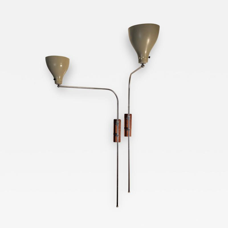 Greta Von Nessen Greta von Nessen Pair of Adjustable NS 945 Swing Arm Wall Lamps Circa 1950