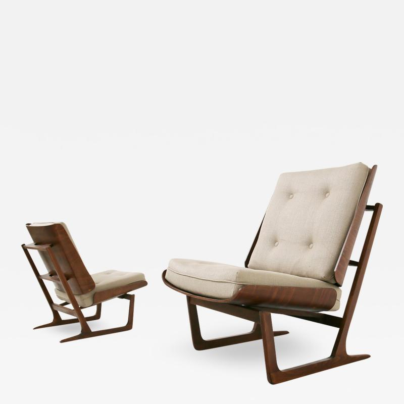 Grete Jalk Pair of Danish Mid Century armchairs by Grete Jalck in teak and cottone 1950