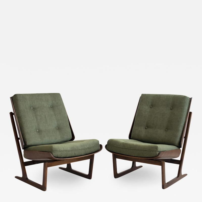 Grete Jalk Pair of Mahogany Lounge Chairs Attributed to Grete Jalk
