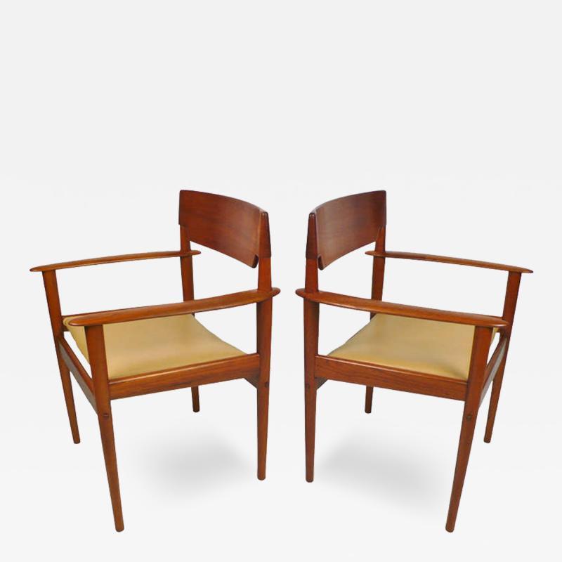Grete Jalk Teak Arm Chairs by Grete Jalk