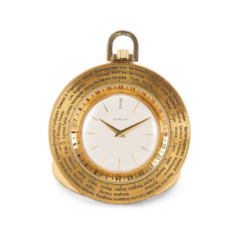Gubelin World Timer Pocket Watch in 14K Gold Filled