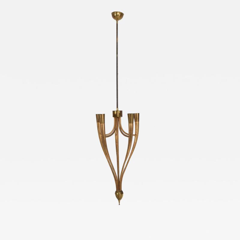 Guglielmo Ulrich Two Tone Bronze Italian Chandelier 5 Light Pendant Guglielmo Ulrich 1950s