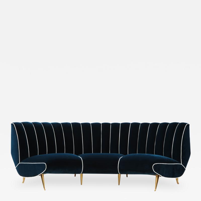 Guglielmo Veronesi Curved Channel Back Navy Velvet Sofa