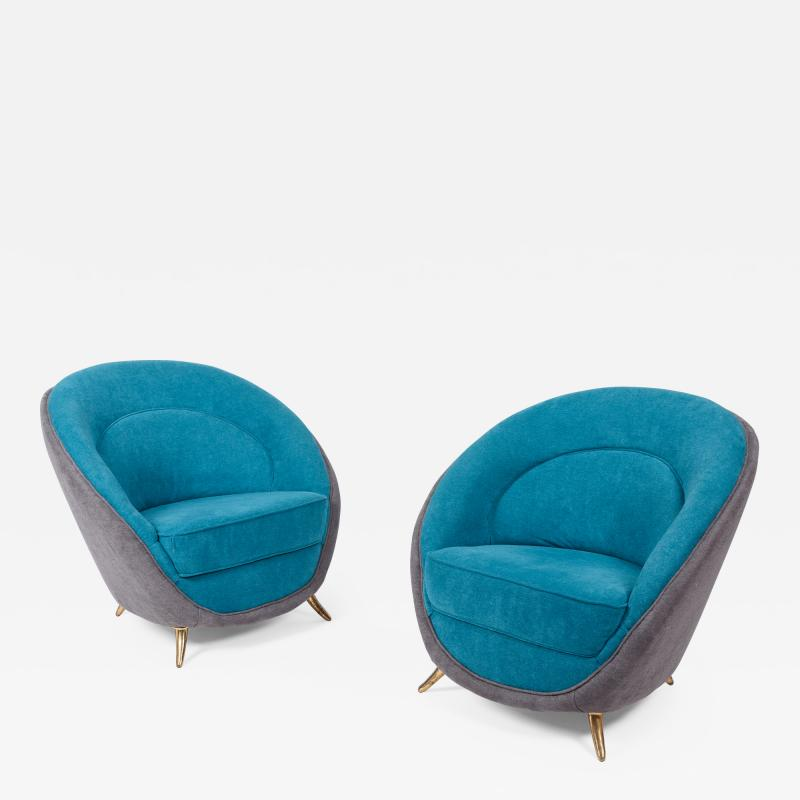 Guglielmo Veronesi Pair of Lounge Chairs by Guglielmo Veronesi for ISA