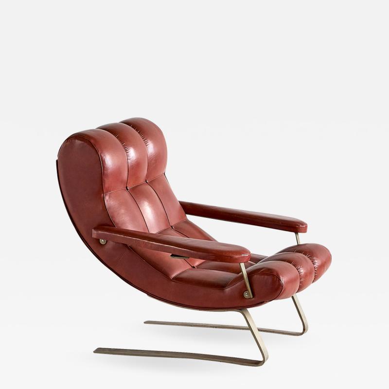 Guido Bonzani Guido Bonzani Lounge Chair in Brown Leatherette for Tecnosalotto Italy 1970s