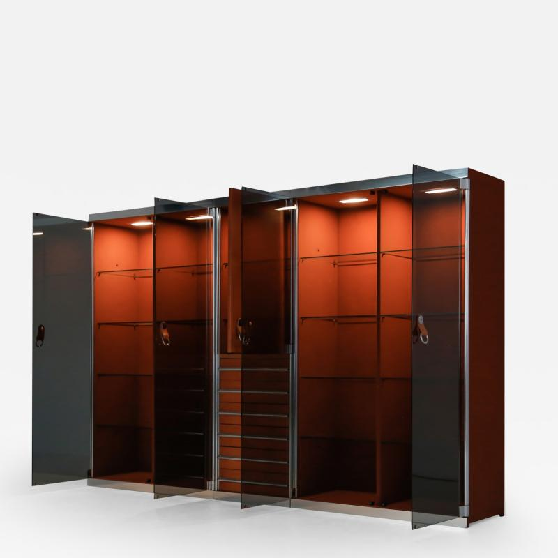 Guido Faleschini Italian design dresser in cognac leather chrome and black glass for Herm s
