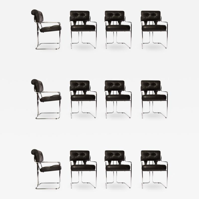 Guido Faleschini Set of 12 Pace Faleschini Leather and Chrome Tucroma Chairs