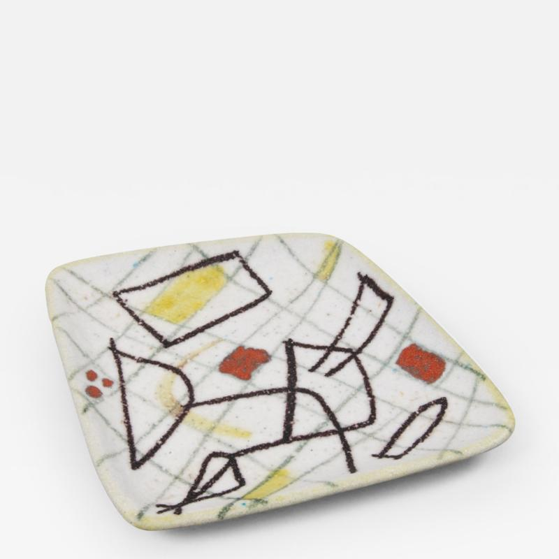 Guido Gambone A freeform ceramic plate with abstract decor
