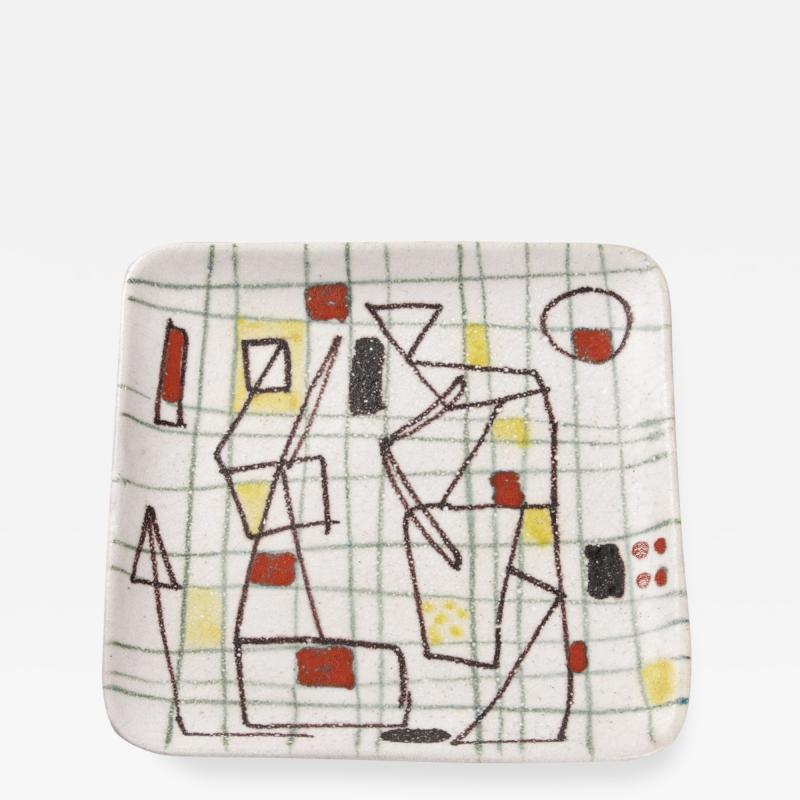 Guido Gambone Ceramic Freeform Plate by Guido Gambone Abstract Hand Painted Decor