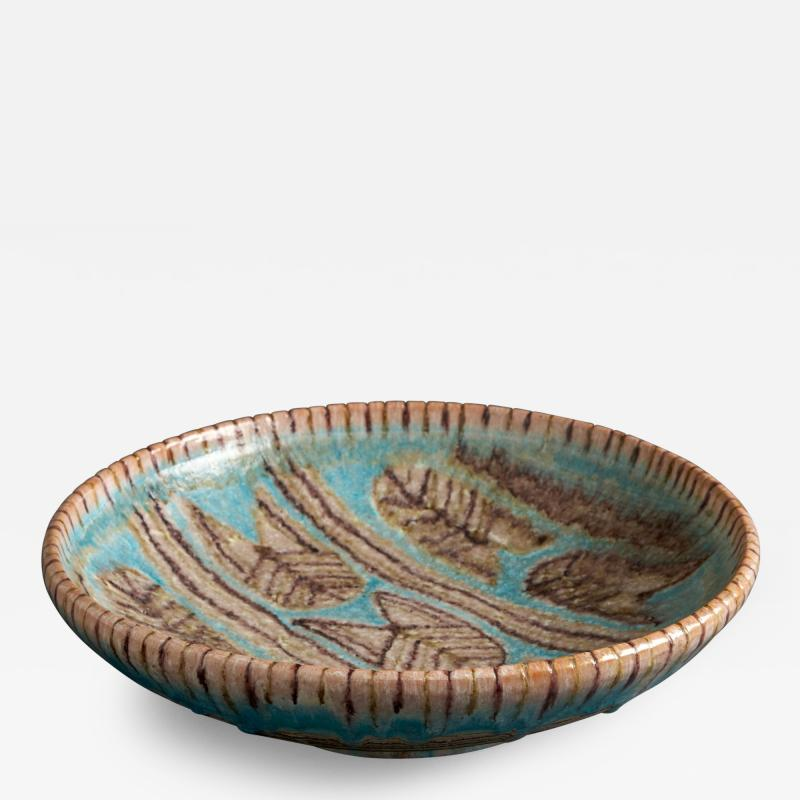 Guido Gambone Large Shallow Bowl in Shades of Turquoise Brown and Taupe