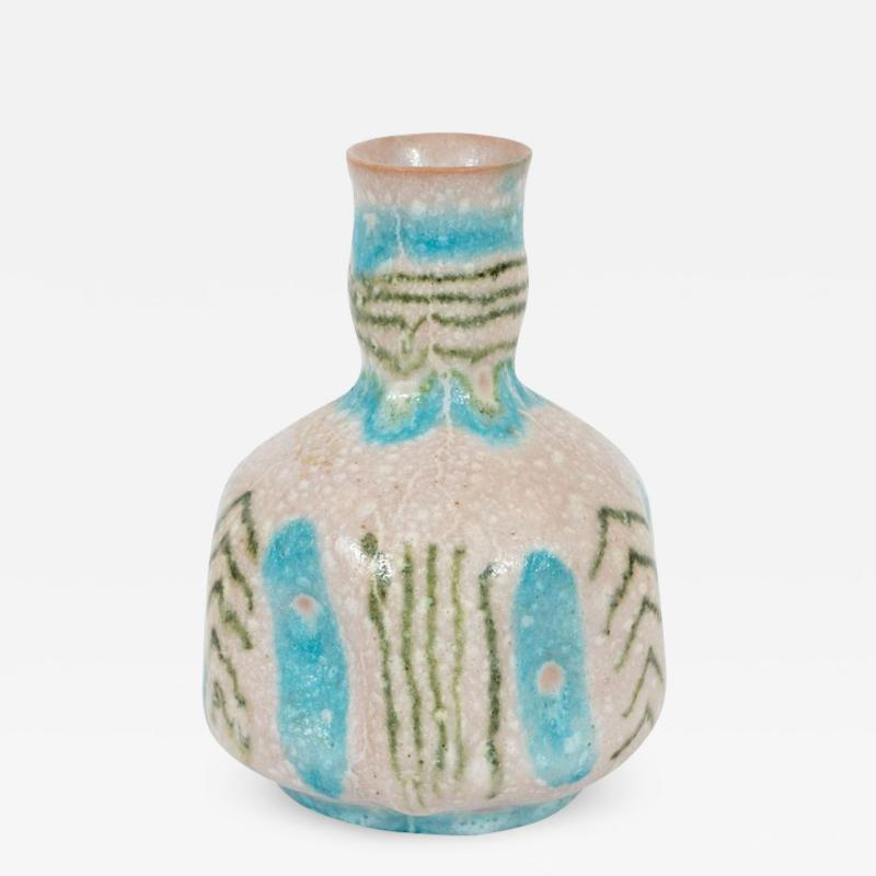 Guido Gambone Signed Midcentury Handcrafted Green and Turquoise Ceramic Vase by Guido Gambone