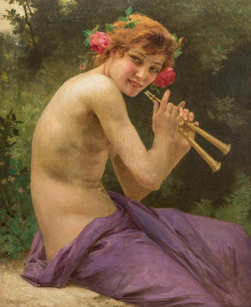 Guillaume Seignac A Fine 19th Century Guillaume Seignac Painting Entitled Fuanesse
