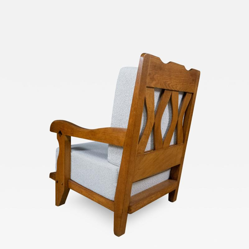 Guillerme et Chambron 1960s Guillerme et Chambron Oak and Boucl Armchair France