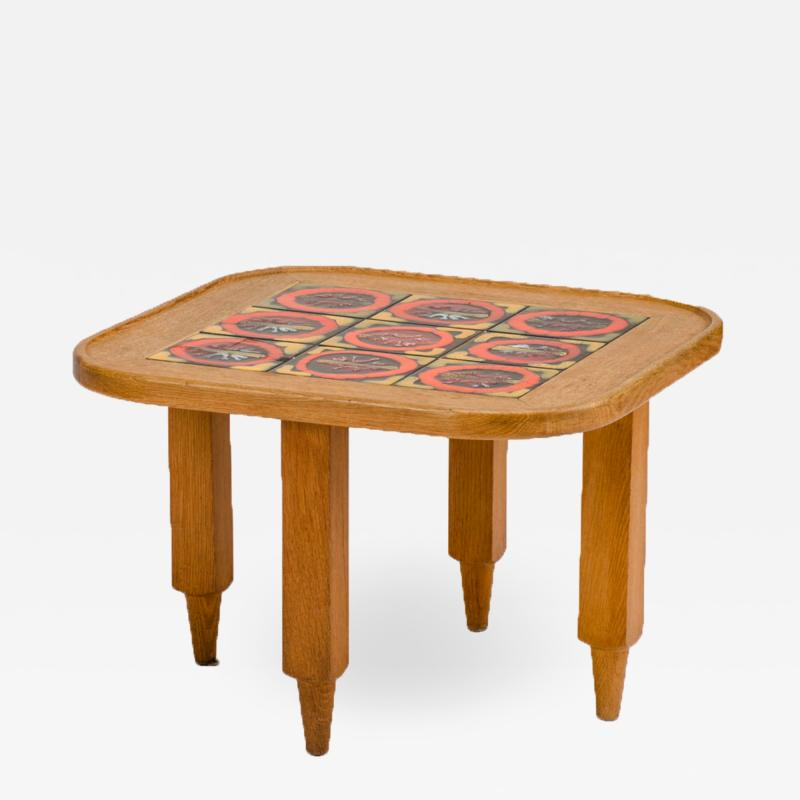 Guillerme et Chambron A French Guillerme et Chambron square oak coffee table with ceramic tile top