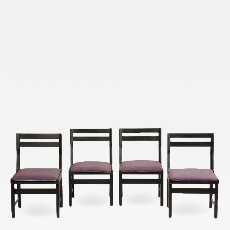 Guillerme et Chambron A set of four French Guillerme et Chambron blackened oak chairs circa 1970