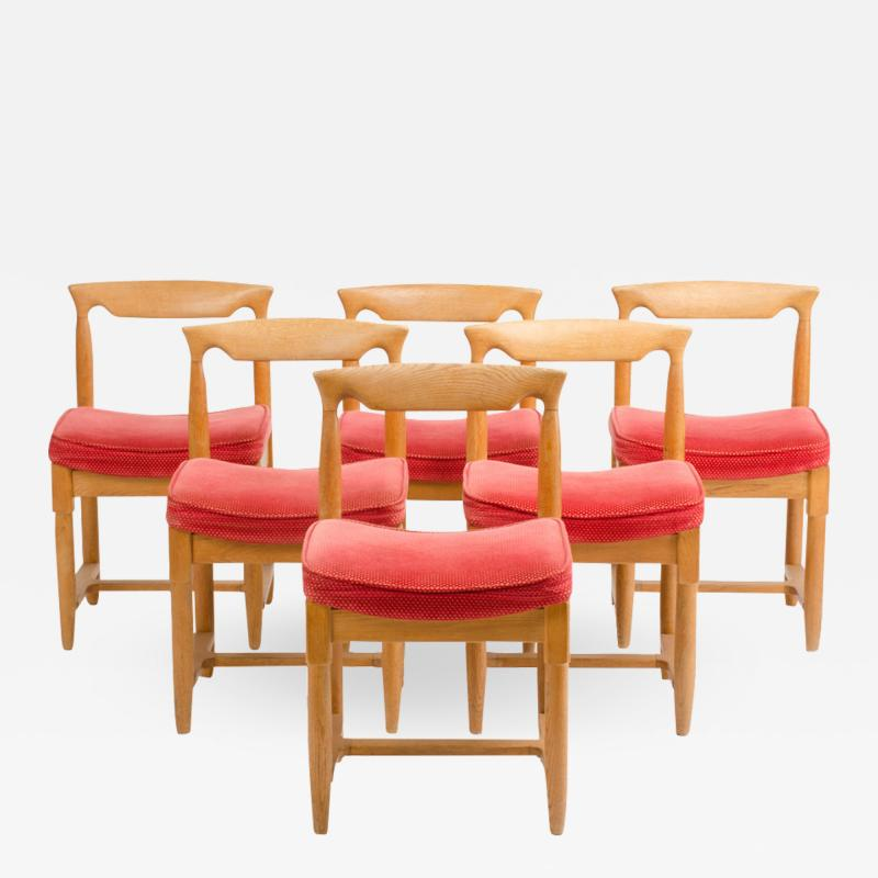 Guillerme et Chambron A set of six French Guillerme et Chambron dining chairs circa 1960