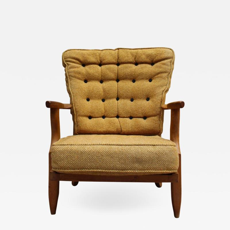 Guillerme et Chambron French 1950s Grand Repos Armchair by Guillerme et Chambron