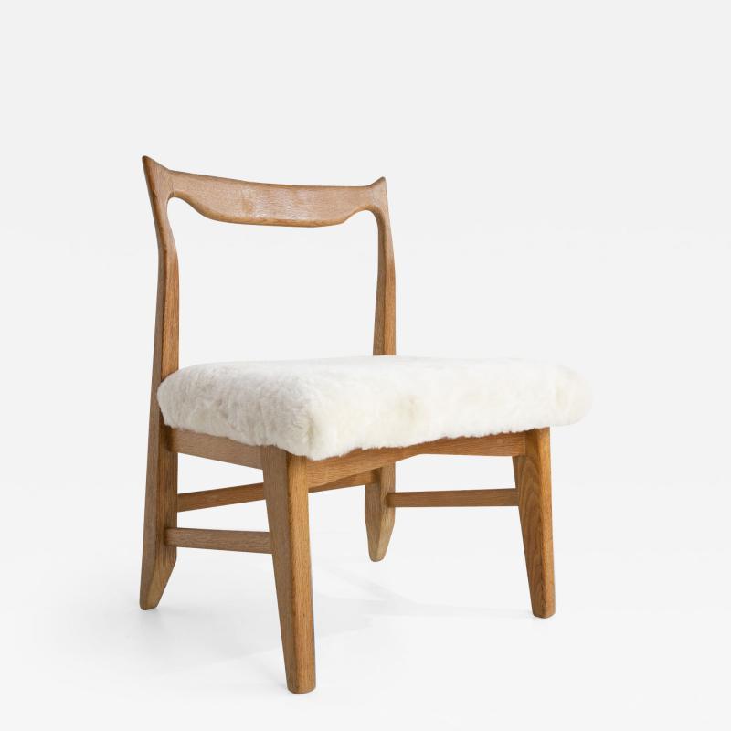 Guillerme et Chambron French Guillerme et Chambron Armless Chair Hungarian Oak Lambskin