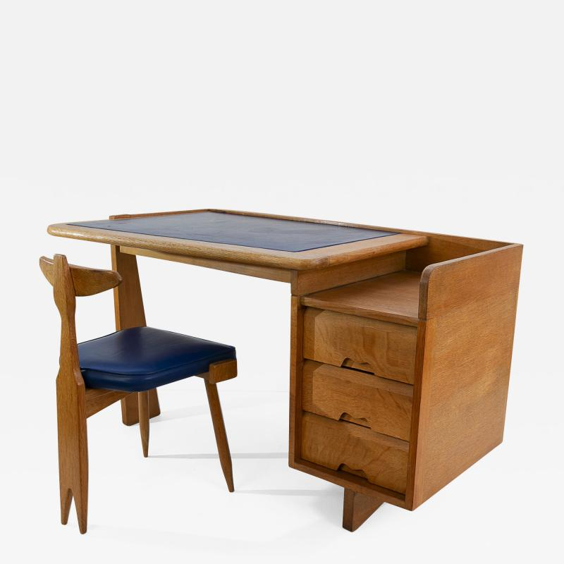 Guillerme et Chambron Guillerme and Chambron 3 Drawers Oak Desk with matching chair