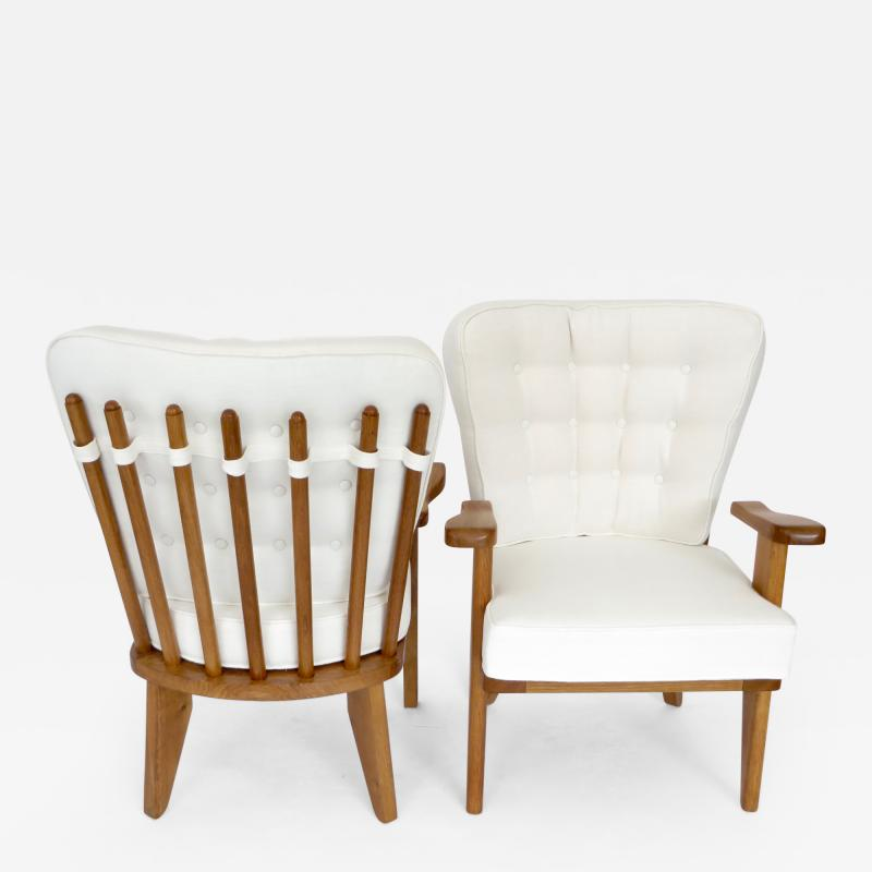 Guillerme et Chambron Guillerme et Chambron French Natual Oak Lounge Chairs White Belgian Linen