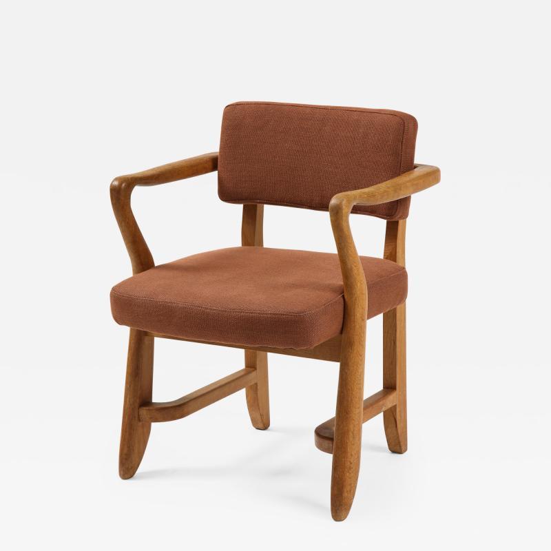 Guillerme et Chambron Mid Century Oak and Linen Bridge Chair by Guillerme et Chambron