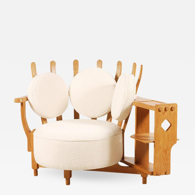 Guillerme et Chambron Oak Corner Armchair by Guillerme and Chambron for Votre Maison 1960s