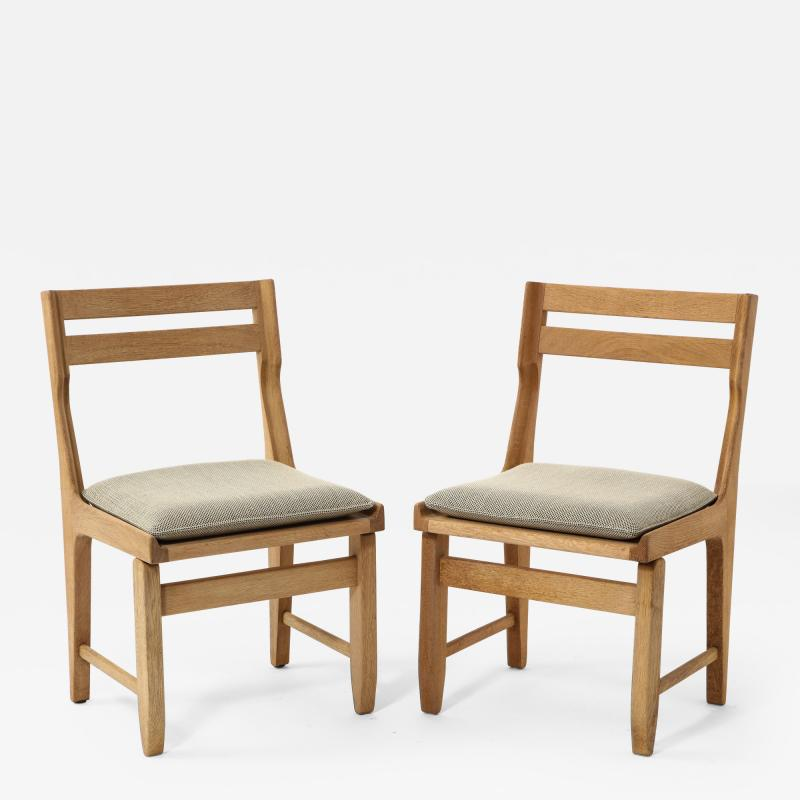 Guillerme et Chambron Pair of Solid Oak Guillerme Chambron Chairs France 1970s