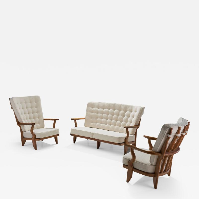 Guillerme et Chambron Set of Two Lounge Chairs and Sofa by Guillerme et Chambron France 1950s