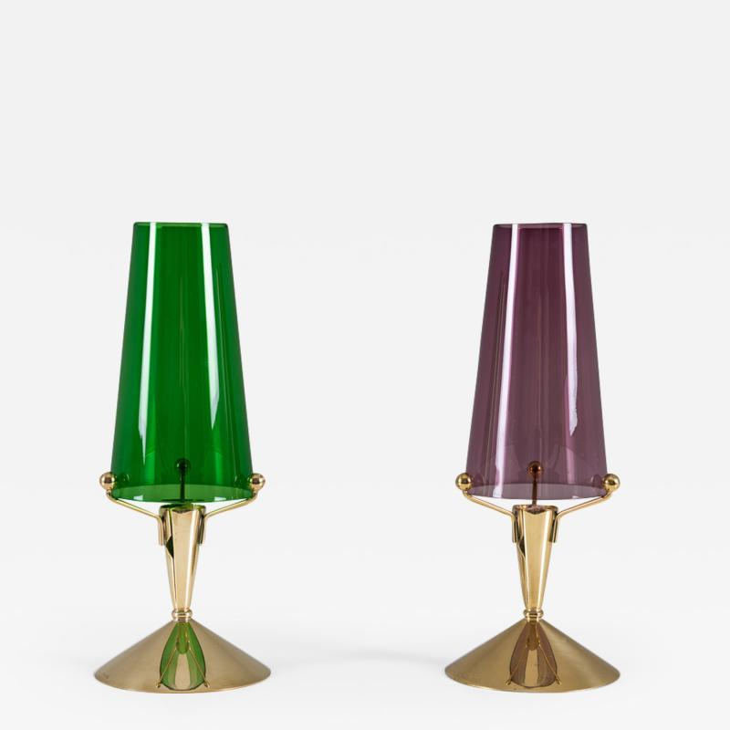 Gunnar Ander Candlesticks in Glass and Brass by Gunnar Ander for Ystad Metall