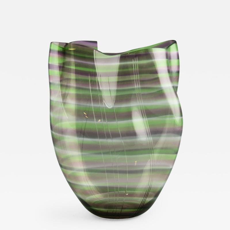 Gunnar Cyren Gunnar Cyr n for Orrefors Cyrano Vase in Green and Pink 1985