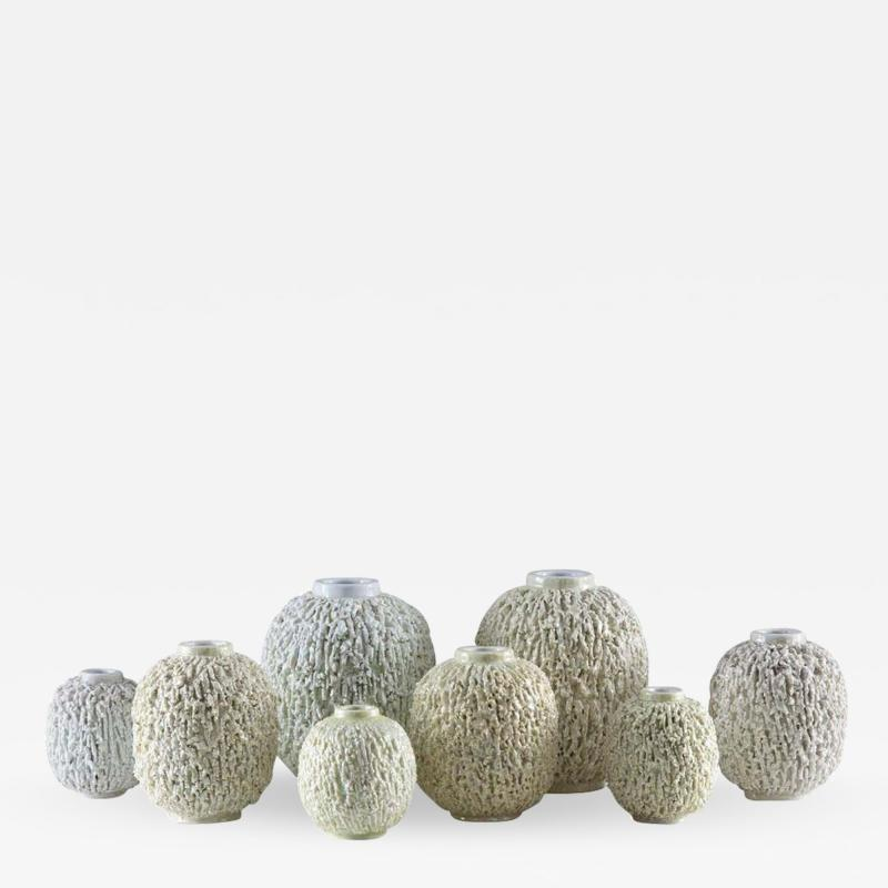 Gunnar Nylund Collection of 8 Chamotte Hedgehog Vases by Gunnar Nylund for R rstrand Sweden