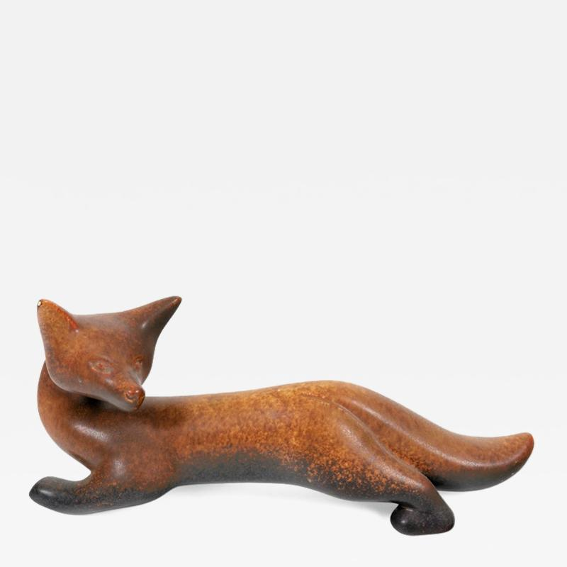 Gunnar Nylund Gunnar Nylund Signed Brown Stoneware Fox for Rorstrand