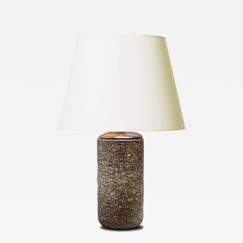 Gunnar Nylund Magnificently Textured Table Lamp in Glazed Chamotte by Gunnar Nylund